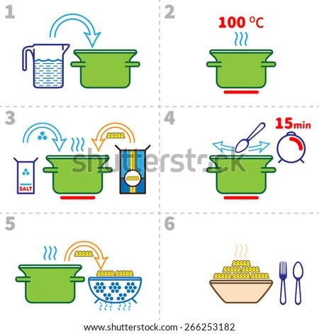Cooking pasta infographics. Step by step recipe infographic for cooking pasta. Vector illustration italian cuisine - stock vector