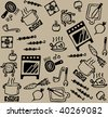 Cooking pattern Seamless pattern with set of cook and food objects. Vector illustration. - stock vector