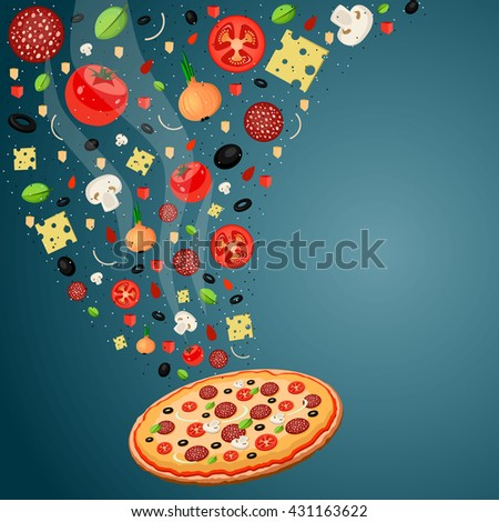 Cooking pizza with falling ingredients. Pizza recipe. Space for text - stock vector
