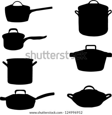 Cooking pots - stock vector
