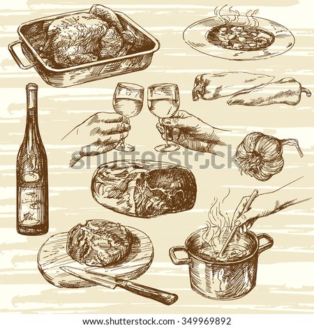 Cooking process. Hand drawn vector illustration.