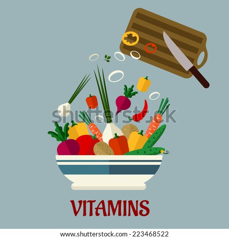 Cooking salad flat infographic design with a wooden chopping board and healthy fresh colorful vegetables in a bowl, text below Vitamins - stock vector