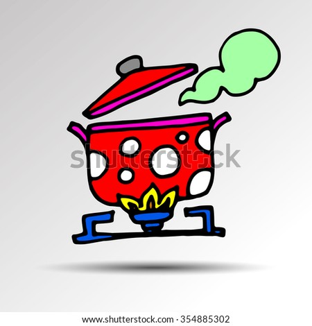 cooking saucepan kitchen food illustration object vector