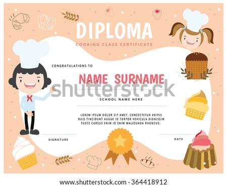 Cooking School Kids Diploma Certificate Stock Vector (Royalty Free ...