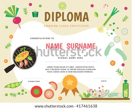cooking school kids diploma certificate stock vector  cooking school kids diploma certificate