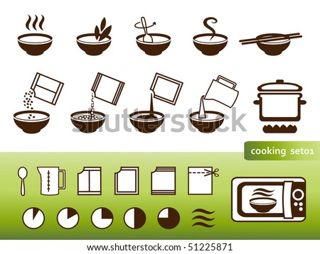 Cooking signs, for manuals on packing. Instructions infographic - stock vector