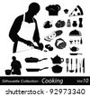 Cooking silhouettes:chef in the kitchen - stock vector