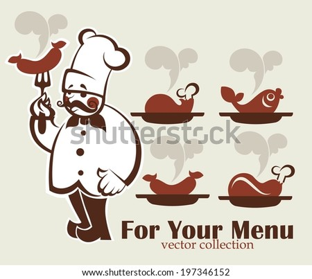 cooking symbols, food and chef silhouette, vector collection emblems for your menu - stock vector