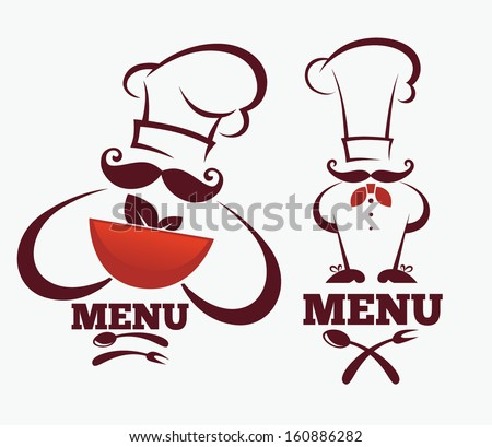 cooking symbols, food and chief silhouettes, vector collection emblems for your emblems - stock vector