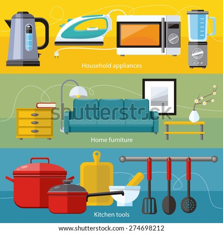 Cooking tools and kitchenware equipment, serve meals and food preparation elements. Business interior. Home appliance microwave, iron, kettle, blender in flat design    - stock vector
