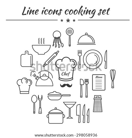 Cooking utensil line icons set. EPS10 vector illustration for your design. Linear design icons collection. Outline kitchen icons kit. Restaurant icons set. - stock vector