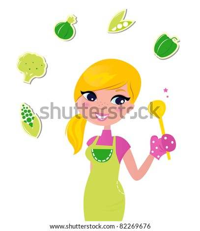 Cooking woman preparing healthy green food isolated on white - vector Cute blond woman cooking healthy food. Vector Illustration. - stock vector