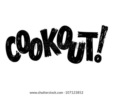 Cookout Banner - Retro Clipart Illustration - stock vector