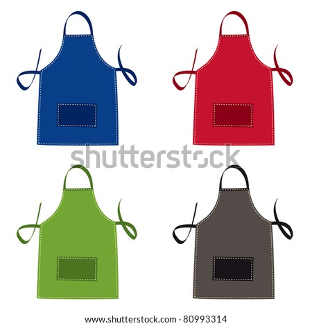 Cooks apron collection in bright colours with pocket - stock vector