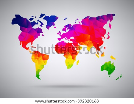 Cool abstract colorful rainbow stylized world stock vector 392320168 cool abstract colorful rainbow stylized world map background in polygonal style continents map low poly gumiabroncs Image collections
