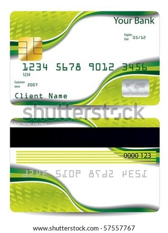 Cool abstract green credit card design - stock vector