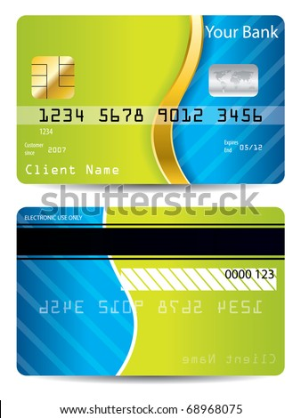Cool blue and green design credit card - stock vector