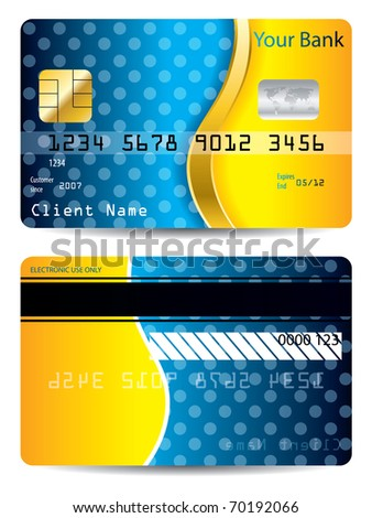 Cool blue and orange credit card - stock vector