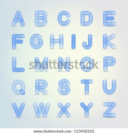 Cool blue 3D wire style alphabet vector for unique logo or text - stock vector