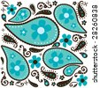 Cool Blue Paisley - stock vector