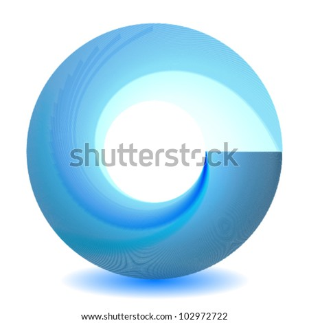 cool blue swirl icon - stock vector