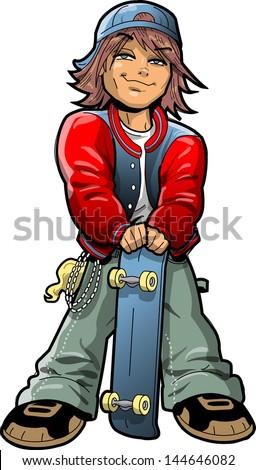 Cool Boy With Skateboard and Bandana - stock vector