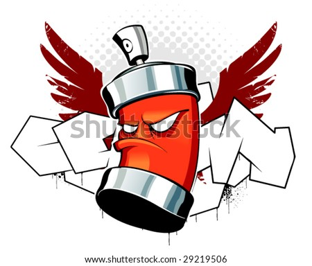 Cool can with wings on graffiti background - stock vector