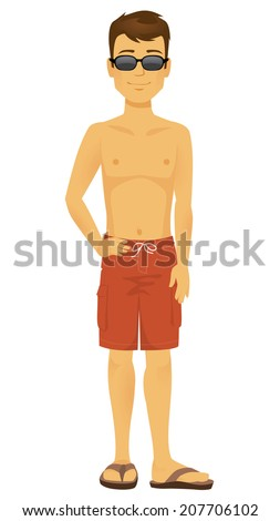 Cool Cartoon beach dude in sunglasses and bathing suit - stock vector
