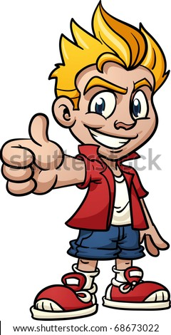 Cool cartoon kid making thumbs-up hand gesture. Vector illustration with simple gradients. One single layer. - stock vector