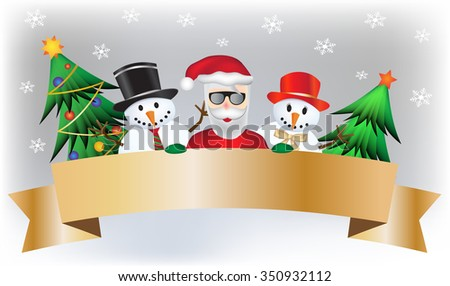 Cool cartoon snowman with his lady and santa claus and two beautiful christmas tree and gold banner for your title  - stock vector