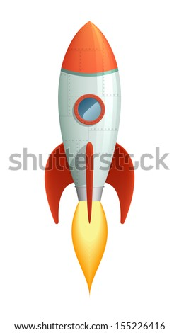 Cool cartoon style launching rocket with flame going out of the booster. EPS10 vector, isolated on white. - stock vector