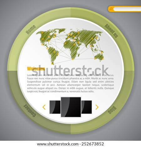 Cool circle webpage template design ideal for blogs  - stock vector