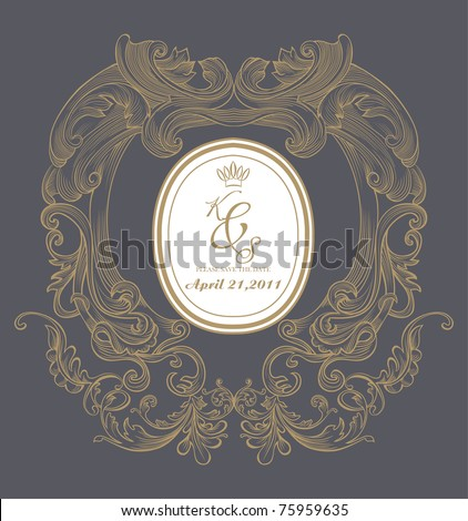 cool classic and nice wedding card for your need - stock vector
