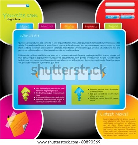 Cool colorful design website  template - stock vector