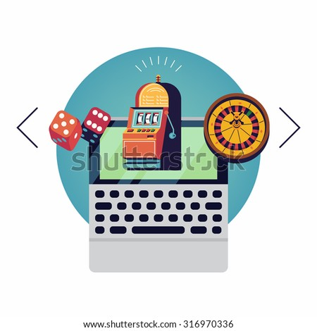 Cool concept design on 'Win wherever you are' online gambling layout with various games displayed to choose on laptop | Gambling applications modern flat design illustration - stock vector