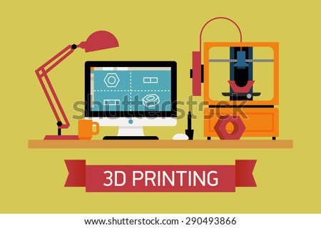 Cool concept illustration on 3D printing, trendy flat design | Innovative fabrication process background with modeling desktop equipment computer, 3D printer and sample object  - stock vector