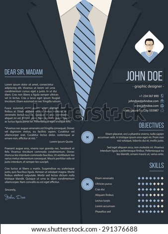 cool cover letter resume cv template design with business suit background - Cover Letter For Resume Template