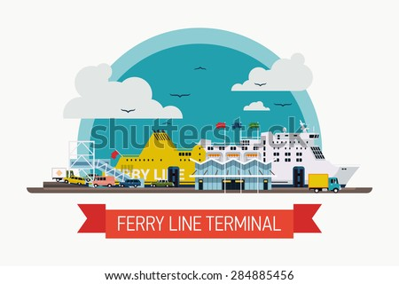 Cool creative vector detailed boarding ferryboat ship at ferry line terminal | Seaway connection transport ferry service background. Ideal for web site or social media network cover profile image - stock vector