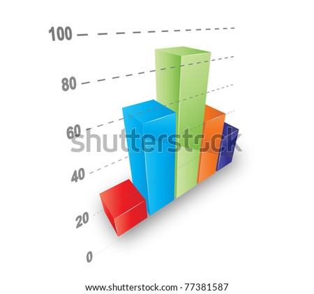 Cool 3D graph. Vector file. - stock vector