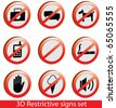 Cool 3D restrictive signs collection. Including empty sign. - stock vector