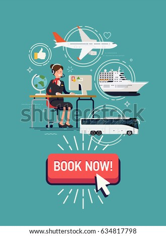 cool detailed vector concept illustration on travel agency web banner or printable template on summer - Agency Manager