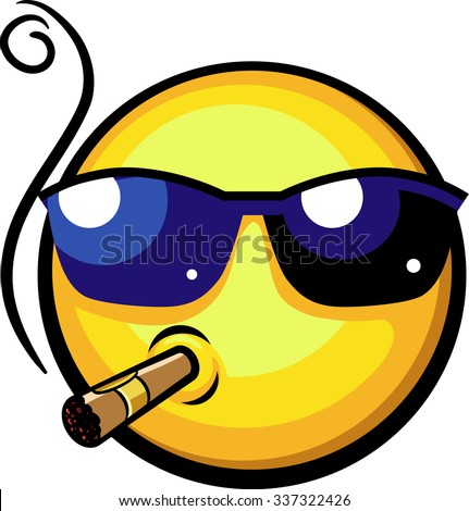 Cool emoji wearing sun glasses smoking cigar. Happy mood. Success, rich employer, boss, or chat concept. Vector illustration isolated on white background. - stock vector