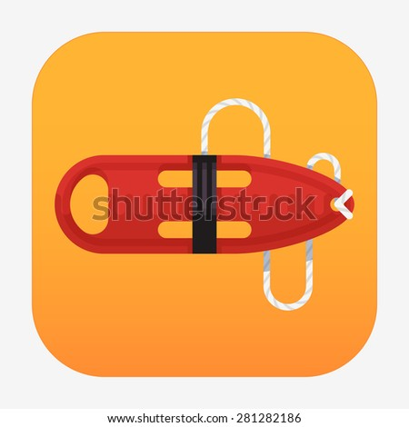 Cool flat design vector web or application icon on support, help and assistance with red torpedo rescue lifeguard buoy - stock vector