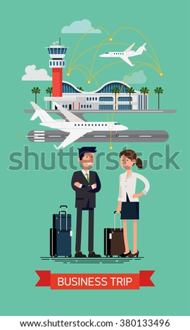 Cool flat illustration on business trip banner template. Business man and woman ready to board on business jet at airport terminal. Business characters couple with hand luggage standing. Airway travel - stock vector