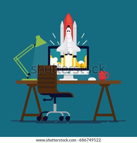 Cool flat vector concept on startup or sole proprietorship fast growing business and success with workplace equipped with desktop computer, lamp and chair and shuttle spacecraft flying off the screen