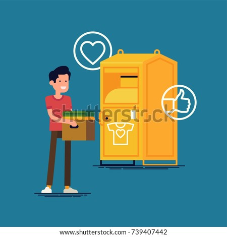 Cool flat vector illustration on charity clothes donation with clothing bin or container and confident man holding cardboard box with old used clothes ready to be donated or recycled