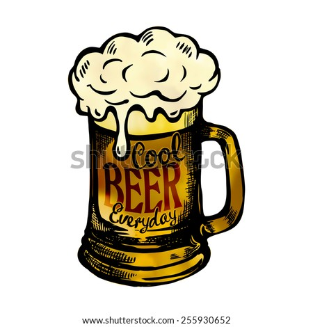 Cool fresh beer mag-model for design of gift packs, patterns fabric, wallpaper, web sites, etc. - stock vector