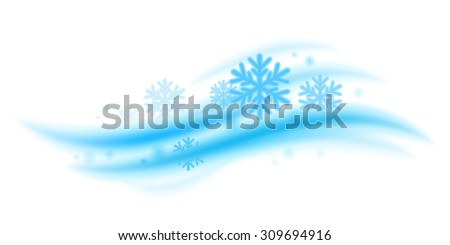 Cool fresh mint wave with snowflakes vector illustration. Good for menthol products packaging design. - stock vector