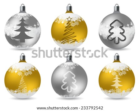 Cool glittering christmas decorations with snowflakes and tree shapes - stock vector