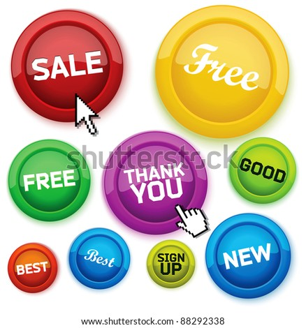 Cool glossy buttons for your business website. - stock vector